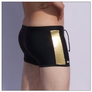 Mens Swmming Trunks - Black & Gold - Swm Trunks for Men